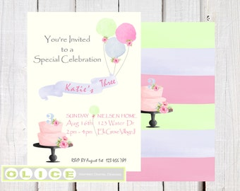 Watercolor - girls birthday invitation  - birthday cake  balloons and Banner -  first birthday invitations - Baby girl birthday - DIY invite