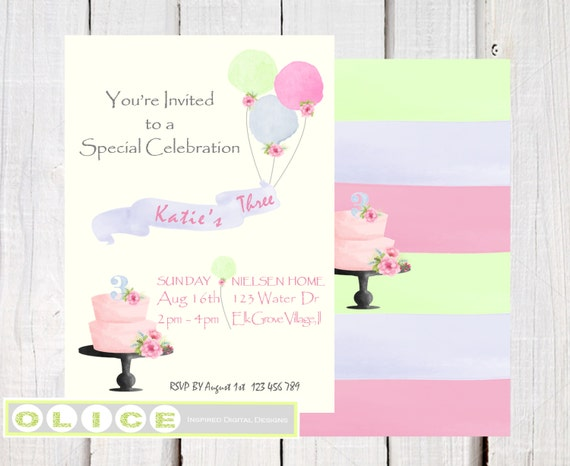 Watercolor girls birthday invitation birthday cake balloons and il570xn stopboris Gallery