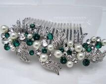 Pearl and Rhinestone Hair Piece Wedding Green Hair Comb Bridal Hair Comb Emerald Swarovski Bridal Hair Wedding Comb Vintage Greek Grace