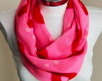 Pink  red infinity scarf with dots crepe chiffon circle Scarf tube scarf with pink red shades scarf with vivid colors spring summer fashion