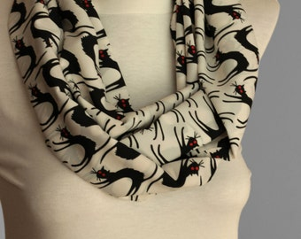 Multipurpose scared cat  infinity Scarf  infinity shawl spring summer fashion, use it as a scarf pareo
