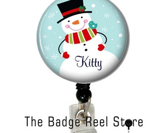 Retractable ID Badge Holder, Name Tag, Personalized, Name, Badge Reel, ID holder, Nurse, Snowman