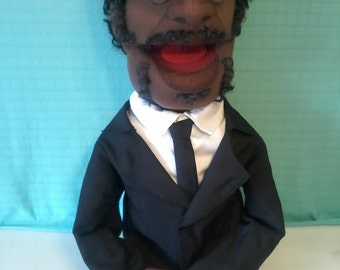 Professional, handmade, hand puppet, Pulp Fiction, Jules Winnfield, Tarantino, ooak, celebrity puppet, movies, supreme quality, unique