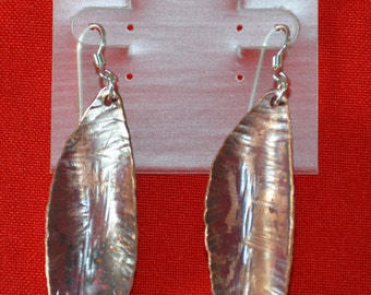 Copper Leaves Earrings with Argentium Silver Earwires