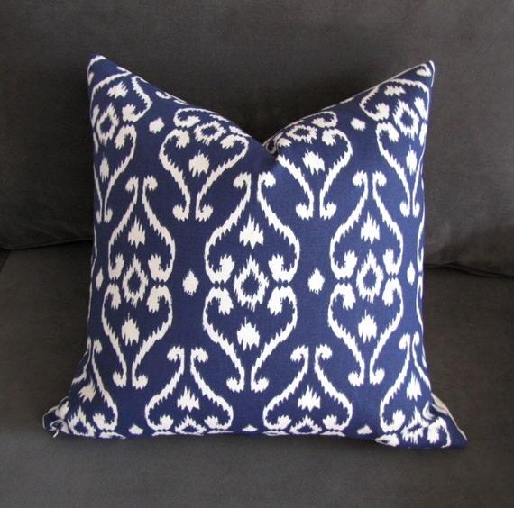 Navy Blue Throw Pillow Ikat Sofa Pillow Damask Print Couch