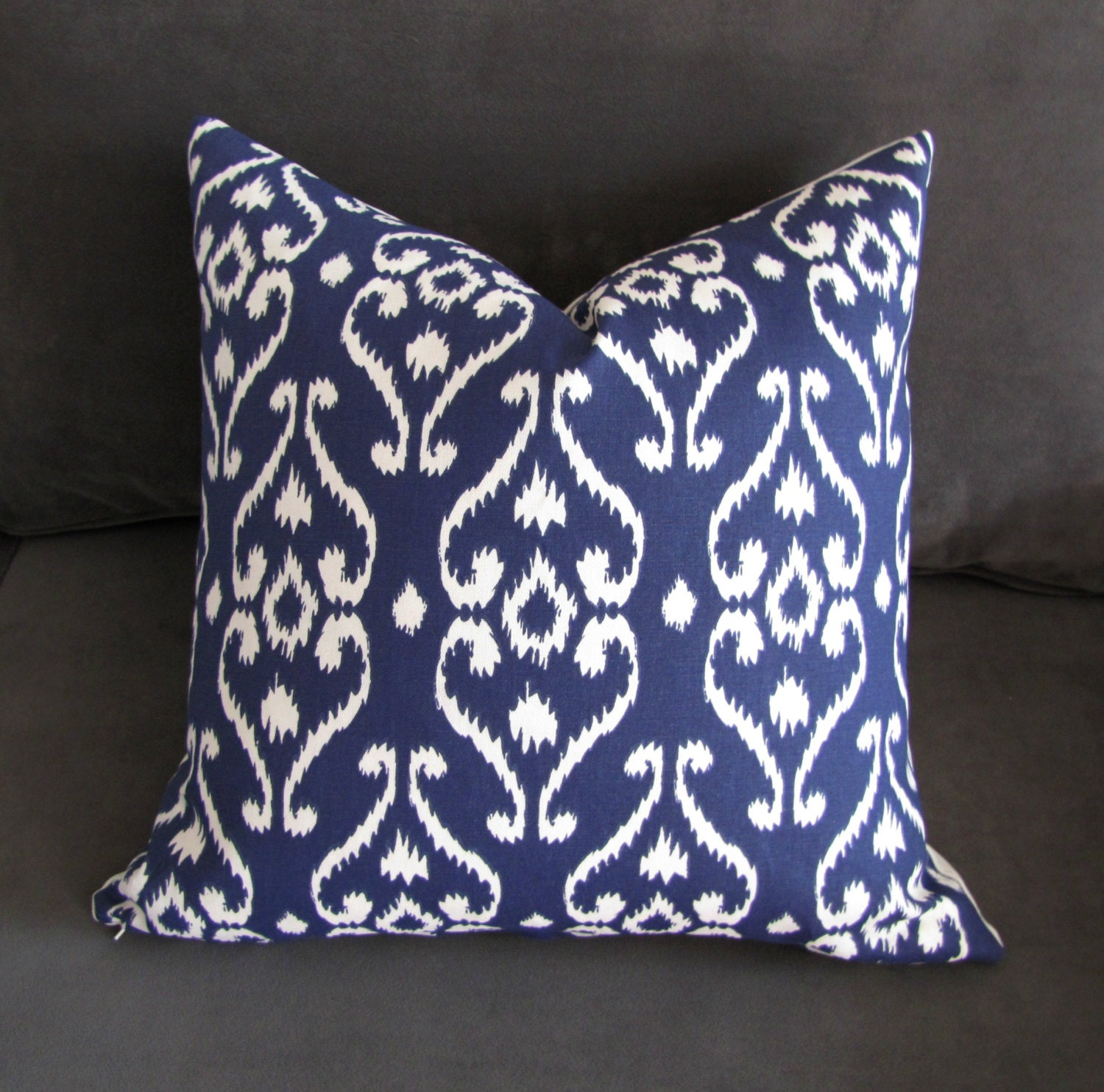 Throw Pillows For Navy Blue Couch : Navy blue throw pillow Ikat sofa pillow damask print couch