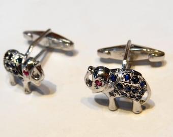 Stylish Elephant  Ruby Blue Sapphire Cufflink Sterling Silver 925 Handmade Modern Precious Stone Marvelous