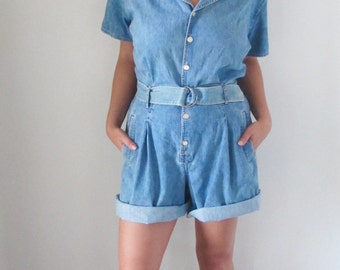 Vintage Liz Wear Size 14 Jean / Denim Shorts Romper Jumpsuit