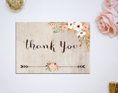 Printable Rustic Floral Thank you Card, Bridal Shower Digital Files, Rustic Floral Thank you, Bridal Thank you DIY Wedding INSTANT Download