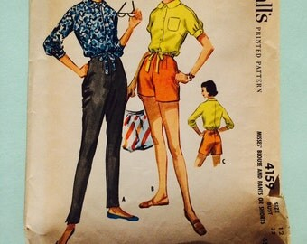 McCall's 4159, 1957, misses blouse and pants and shorts.  Size 12, bust 32.