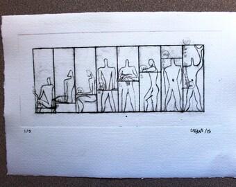 "ORIGINAL engraving DRYPOINT  MODULOR17,5 X 25 cm (6,8"" x 9,8"")"
