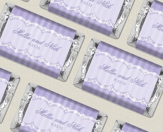 Personalized hershey s candy wrapper lace wedding favors in mini size