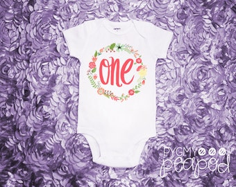 "First Birthday ""One"" Baby Bodysuit - Cake Smash Outfit - Baby Girl - Floral Design - White Bodysuit"