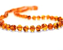 Amber Jewelry for Adults, Traditional Cognac Necklace made of Polished Baroque Beads, 45 cm (17.7 inches), Knotted with Screw Clasp, A1-3B