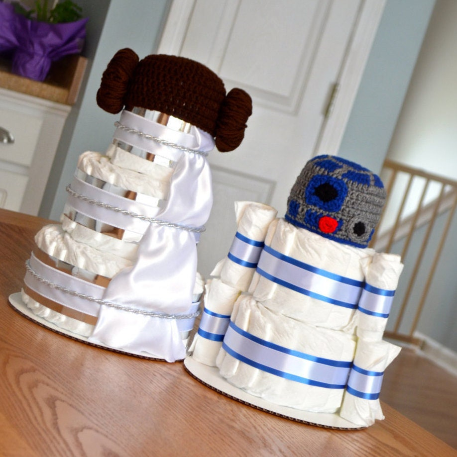 set of 2 star wars diaper cakes yoda r2d2 by julies2cutecreations