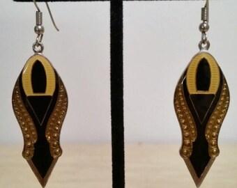 Retro Art Deco Hook & Dangle Earrings