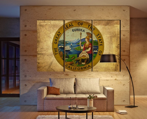 LARGE 3 panels / boards wrapped stretched State of California seal The Golden State canvas wall art Giclee Art fine art Repro