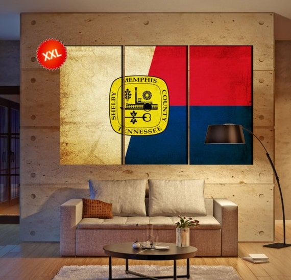 "LARGE 3 panels / boards wrapped stretched City Memphis, Tennessee ""The Bluff City"" canvas wall art Giclee Art wall  art Repro"