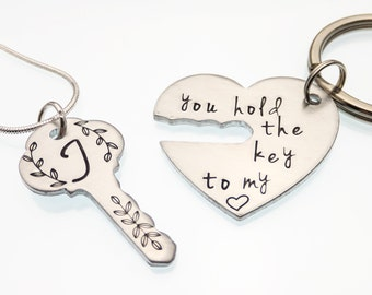 You Hold The Key To My Heart | Hand Stamped Keychain & Necklace Set | Monogrammed Key | Couple's Keychain and Necklace Set | Key Pendant
