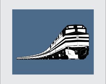 Train Art Print, 8x10 PRINTABLE, Passenger Train, Instant Download, Digital