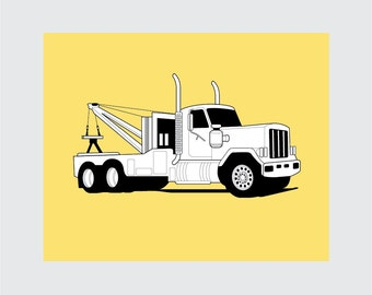 Tow Truck Art Print, 8x10 PRINTABLE, Towing, Instant Download, Digital