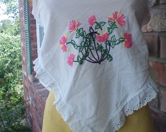 Vintage Embroidered Linen Strapless Halter with Eyelet
