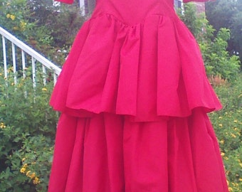 Red Tiered Gown by Gowns by Andrea of California