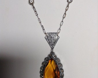 1920/30 art. Deco 15 inch long necklace with an additional 2 1/4 inch drop.