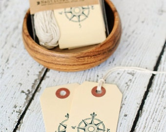 Compass Tags, set of 10, paper supplies, sailing tags, compass, gift tags