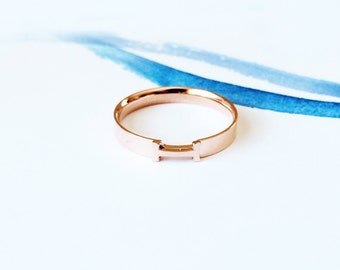 Rose Gold H Band Ring 18K Rose Gold Ring Multifinger Band Stack Ring Knuckle Ring Simple Letter Ring Men Women Ring Ideal Gift Couple Band