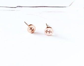 Sagittarius Earring 18K Rose Gold Horoscope Stud Earring Star Sign Earring Simple Everyday Earring Birthday Gift Horoscope Astrology Earring