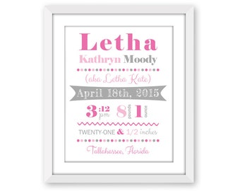 """Personalized Custom Baby Announcement Print with FREE SOCIAL MEDIA Graphic, """"Letha"""" Style, Birth Print, 8x10, 11x14, 13x19, Typography, Gift"""