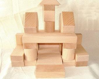 Wooden blocks (36ps). Wood constructor. Wood building blocks. Wood blocks