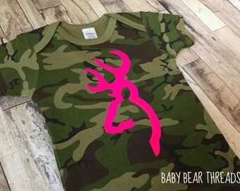 Hot Pink and Camo Browning - Baby Bodysuit