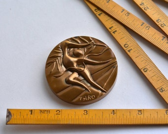 "1972 München Munich Olympic Game / Bronze Surrealism Medal for Japan / Designed by ""Taro Okamoto"" manufactured in Japan"