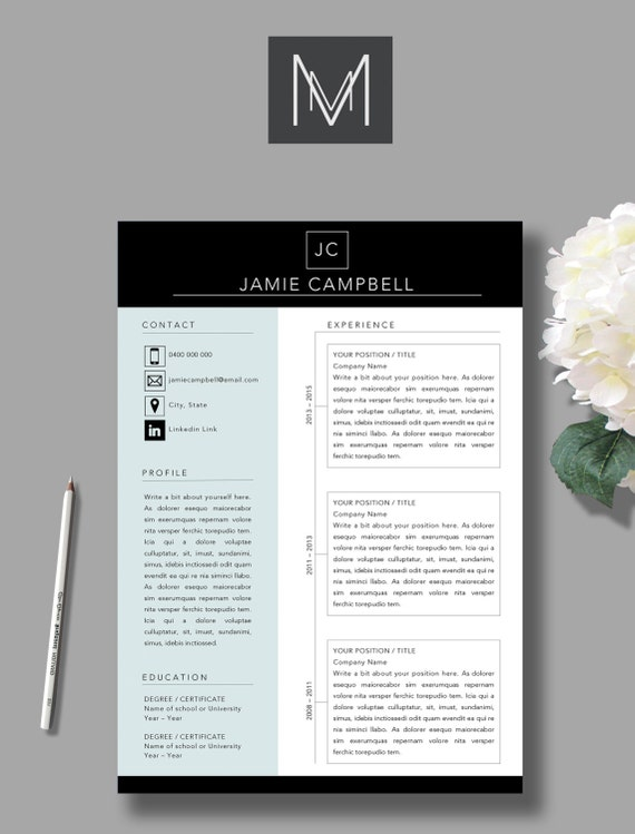 2 Page Resume Template + Cover Letter | MS Word Template | A4 | Professional  Resume Design | Campbell Template  Professional Word Templates