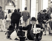 Florence Italy Piazza/Fine Art Photography/Metallic Paper Print/Classic Italy/Travel Photography/B&W Silvertone/Street Performer/Anne Groton