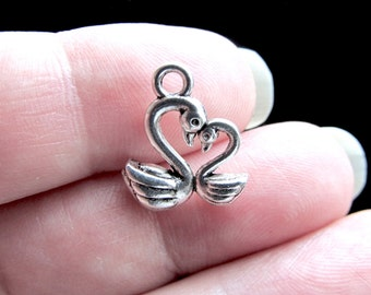 8 Swan Charms Antique Silver Tone Charm Pendants Double Sided Charm for Bracelet Necklace 14mm x 12mm CS-0401