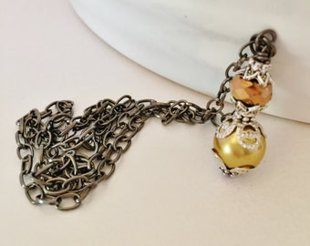 Vintage Gold Pendant Necklace Wedding Necklace Bridesmaid Gift Jewelry Set Vintage Jewelry Pearl Jewelry Crystal Jewelry Mother of the Bride