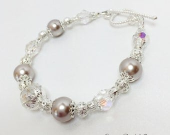 Taupe Pearl Wedding Bracelet Wedding Party Gift Taupe Bridesmaid Gift Pearl and Silver Beaded Bracelet Mother of the Bride Gift Flower Girl