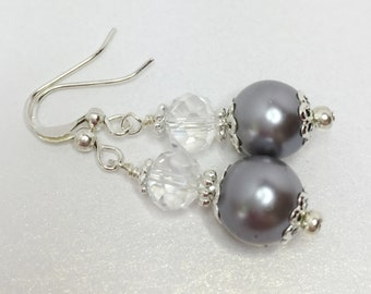 Steel Grey Pearl Earrings Grey Bridesmaid Earrings Pearl Unique Crystal Drops Grey Bridesmaid Gift Silver Jewelry Set Grey Wedding Jewelry