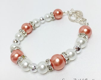 Peach & White Pearl Bracelet Peach Bridesmaid Bracelet Jewelry Set Peach Pearl Jewelry Wedding Set Beaded Jewelry Mother of the Bride Gift