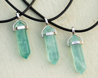 Hexagonal Green Fluorite Crystal Choker