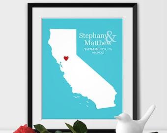 California State Art Map Print, Sacramento Wedding California Map Personalized Couples Gift Wedding City Location Sacramento Gift -Any STATE