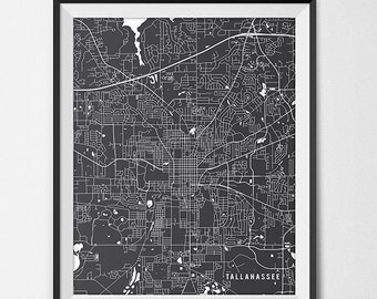 Tallahassee Map Art Print, Tallahassee City Map of Florida State University Poster Gift FSU Grad Gift Dorm Art, Tallahassee Art