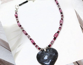 Larvikite Heart Pendant, 18in Necklace