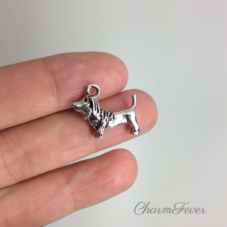8 Dachsund Dog Charm 18x15 Mm Tibetan Antique Silver