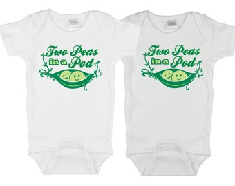 Twin Onesies. Two Peas in a Pod onesie. 2 Peas in a Pod baby. Twin shirts. Peapod baby shower. Cute twin onesie. Twin gift.