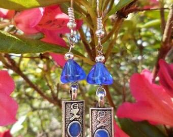 Cobalt Blue Dangle Silver  Earrings
