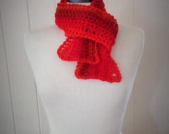 Orange sunset crochet ombre wool scarf